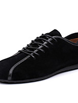 Men's Flats Spring / Fall Round Toe Cowhide Casual Flat Heel Others / Lace-up Black / Blue Others
