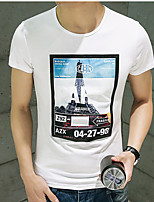 Men's Print Casual T-Shirt,Cotton Short Sleeve-Black / White