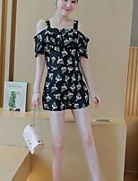 Women's Casual/Daily Simple Summer Set Pant,Print Strap Short Sleeve Black Rayon Medium
