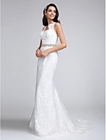 Lanting Bride Trumpet / Mermaid Wedding Dress Court Train Sweetheart Lace with Beading / Lace