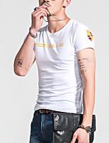 Men's Letter Casual T-Shirt,Cotton Short Sleeve-Black / White