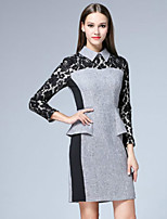 Boutique S Women's Casual/Daily Vintage Shift Dress,Patchwork Round Neck Above Knee ¾ Sleeve Gray Polyester Fall