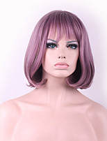 New Cos Wig Purple Smoke Mixed Color Buckle Bobo Short Wig Within 12 Inch