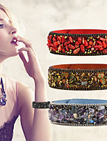 7 Colors Fashion Punk Popular Charm Crystal Crushed Stone Leather Bracelet&Bangles Women Men Jewelry