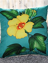 1 PC Country Style 17 by 17 inch Linen Pillow Case Floral Pattern