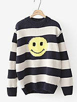 Women's Going out /Street chic Regular Pullover,Striped Blue Crew Neck Long Sleeve Spring / Fall Medium