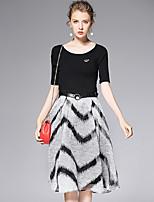 AFOLD® Women's Round Neck Short Sleeve Knee-length Dress-6016