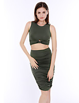 Women's Casual/Daily Simple / Street chic High Rise Ruched Summer / Fall Set SkirtSolid Round Neck Sleeveless