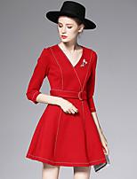 AFOLD® Women's V Neck 3/4 Length Sleeve Mini Dress-C6045
