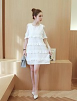 Maternity Casual/Daily Simple Loose Dress,Solid Round Neck Above Knee Short Sleeve White Cotton Summer