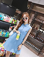 Maternity Casual/Daily Simple Loose Dress,Solid Peter Pan Collar Above Knee Sleeveless Blue Polyester Summer