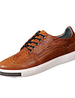 Men's Flats Spring Flats Cowhide Casual Flat Heel Lace-up Black / Brown / Gray Cycling