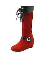 Черный / Синий / Красный-Женский-Для праздника / На каждый день-Мех-На плоской подошве-На плокой подошве-Ботинки
