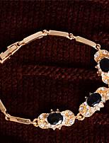 Chaînes & Bracelets 1pc,A la Mode / Vintage / Adorable Forme Ovale Bleu foncé / Fuchsia / Noir / Rouge / Vert Cristal / Plaqué or Bijoux