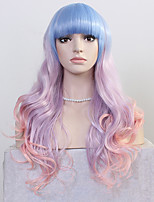 Fashion Long European and American Wave Wigs Bule Purple Pink Three Tone Ombre Color Women Synthetic Wigs