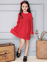 Girl's Casual/Daily Solid Dress,Cotton / Polyester Spring / Fall Red