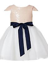 볼 드레스 종아리 길이 플라워 걸 드레스 - 튤 / 스팽글 짧은 소매 쥬얼리 와 레이스 / 허리끈/리본 / 스팽글