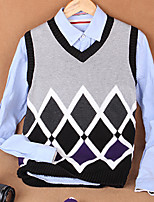 Men's Print / Color Block Casual Vest,Cotton Sleeveless Black / Purple / Gray