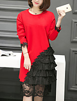 Women's Plus Size / Going out / Formal Vintage / Sophisticated Loose / Lace Dress,Patchwork