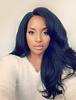EVAWIGS Unprocessed Italian Yaki Natural Black Color Brazilian Virgin Human Kinky Straight Lace Front Wig With Baby Hair