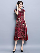 Women's Casual/Daily / Plus Size Sophisticated Sheath Dress,Floral V Neck Midi Short Sleeve Red Polyester Summer Mid Rise Micro-elastic