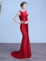 Formal Evening Dress Trumpet / Mermaid Scoop Sweep / Brush Train Satin with Side Draping