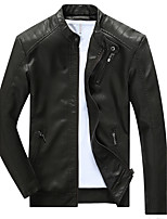 Men's Casual / Casual/Daily Embossed / Simple / Chinoiserie Leather Jackets,Solid Stand Long Sleeve Fall / Winter Blue / Black / BrownPU
