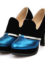 Синий / Серебристый / Золотистый-Женский-Для прогулок / Для офиса / На каждый день-Дерматин-На толстом каблуке-На каблуках / С круглым