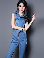 Boutique S/Women's Solid Blue Jumpsuits,Sexy / Simple / Cute Peaked Lapel Sleeveless