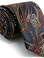 Men's Paisley Dark Gray Tie 100% Silk Business Dress Casual Long