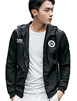 Men's Korean Long Sleeve Casual / Sport Hooded Jacket,Polyester Print Black / Blue / White New Styley