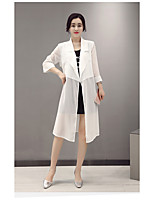 Women's Going out Simple Trench Coat,Solid / Summer Red / White / Black Polyester / Spandex Thin