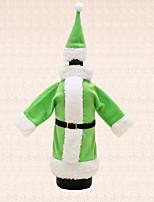 ropa de juego del sombrero bolsa de botella de vino de santa 1pc verde cubre decoración de la mesa de la cena fiesta de navidad