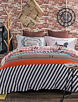 800TC  striped bedding sets Queen King size Bedlinen printing sheets pillowcases Duvet cover sanding Cotton Fabric