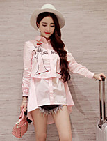 GLITTER  Women's Going out Sexy / Cute Spring / Print Shirt Collar Long Sleeve Pink Polyester Opaque