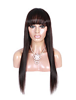 100% Brazilian Virgin Human Hair Wig Straight Medium Brown Cap Lace Front Wigs with Bangs  1b# Color