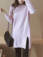 Women's Casual/Daily Simple Long Cardigan,Solid Pink Round Neck Long Sleeve Rayon Fall Medium