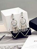Korean Women Alloy Silver Geometric Tassels Hoop Earrings