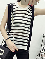 Women's Casual/Daily Simple Regular Vest,Striped White / Black Round Neck Sleeveless Spandex Summer Medium