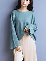 Women's Casual/Daily Street chic Regular Pullover,Solid Gray / Green Long Thin Sleeve Acrylic Fall / Winter Medium