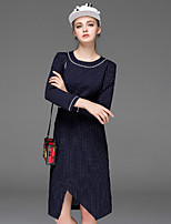 Boutique S Women's Going out Vintage Sheath Dress,Striped Round Neck Asymmetrical Long Sleeve Blue / Black Cotton Fall