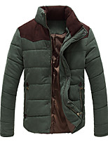 Men's Regular Down Coat,Polyester Solid Long Sleeve