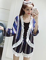 Women's Going out / Cute Summer WrapPrint Round Neck Long Sleeve Blue Cotton Thin