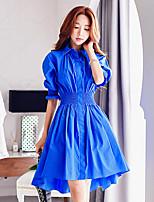 Damen Hemd Kleid-Ausgehen / Lässig/Alltäglich / Urlaub Retro / Street Schick / Anspruchsvoll Solide Hemdkragen Knielang ½ Länge Ärmel Blau