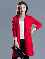 Women's Casual/Daily Street chic Long Cardigan,Solid  Cowl Long Sleeve Cotton Spring / Fall Medium