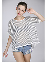 Women's Going out Simple Regular Pullover,Striped White / Black Round Neck Short Sleeve Cotton / Polyester Summer Thin