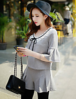 Women's Casual Street chic Blouse,Solid Round Neck Short Sleeve Gray