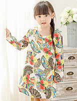 Girl's Cotton Spring/Autumn Embroidery Print Flower Dress Long Sleeve Princess Dress