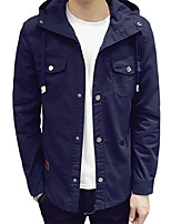 Men's Long Sleeve Casual / Work / Formal / Sport / Plus Sizes Jacket,Cotton Solid