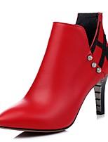 Feminino-Botas-Saltos / Coturno / Botas Cano Curto / Bico Fino / Botas Montaria / Botas da Moda / Conforto-Salto Agulha-Preto / Vermelho-